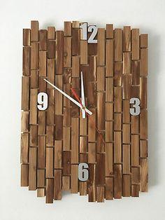 Wanduhr Uhr Holz Uhrwerk Deko Alu Ziffern Unikat Handgefertigt Große Dekouhr