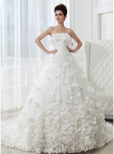 Ball-Gown Strapless Cathedral Train Taffeta Tulle Wedding Dress With Ruffle Flower(s)