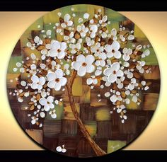 White flowers tree painting brown green abstract by ZarasShop