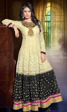 Indian ethnic anarkali long dress , lucknow chiken embroidery.