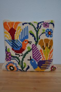 Vintage Mexican Cross Stitch Decorative by ScoutAndScoundrel Cross Stitch Cushion, Cross Stitch Bird, Cross Stitch Needles, Embroidery Art, Cross Stitch Embroidery, Cross Stitching, Cross Stitch Patterns, Fabric Print Design, Vintage Pillows