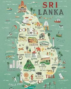 Travel infographic Map of Sri Lanka Anna Simmons Travel Maps, Asia Travel, Travel Posters, Places To Travel, Travel Destinations, Africa Destinations, Vacation Travel, Sri Lankan Chicken Curry, North Shore Oahu