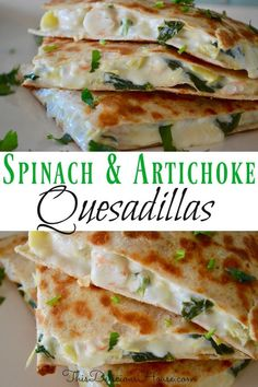 Spinach Artichoke Shrimp Quesadillas are super easy to make and done in less than 15 minutes. Made with shrimp, artichokes, cream cheese, and spinach, everyone loves Spinach and Artichoke Quesadillas. Quesadillas, Shrimp Quesadilla, Fast Dinner Recipes, Fast Dinners, Fast Recipes, Holiday Recipes, Yummy Recipes, Quick Healthy Meals, Healthy Recipes