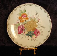 Decorative Plate, Vintage Display Plate, Wall Hanging Plate, Floral Hanging Plate, Hand Painted Plate, Gold Moriage Rose, Wall Decor Plate - pinned by pin4etsy.com