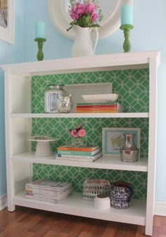belle maison: DIY Bookcase Makeover using fun wallpaper on bookshelves. Bookcase Makeover, Furniture Makeover, Diy Furniture, Upcycled Furniture, Furniture Stencil, Modern Furniture, Furniture Stores, Bookcase Styling, White Furniture