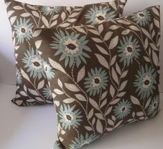 Throw pillows  Pillow  covers   18 x 18    2   Blue by ThePillowCo, $34.95