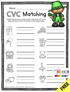 FREE MARCH CENTERS - CVC WORD WORKSHEET - math and literacy - St. Patrick's Day - March - four leaf clover - leprechaun - pots of gold - science - reading and writing - math centers - literacy centers - rainbows - small groups - independent work - spring #kindergartenmath #kindergartencenters