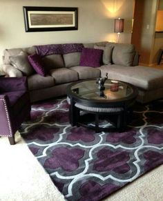 Black Grey and Purple Living Room. 20 Black Grey and Purple Living Room. How to Use Purple In Stunning Looking Living Rooms Brown Living Room, Living Room Designs, Purple Living Room, Living Room Grey, Home Decor, House Interior, Room Decor, Cute Living Room, Apartment Decor
