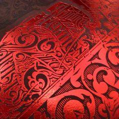 Metallic red #foilstamping detail on burgundy paper for @aaronhorkey #roseshards print folio package