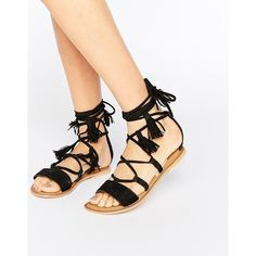 ASOS FICUS Leather Tie Leg Sandals ($34) ❤ liked on Polyvore featuring shoes, sandals, black, leather sandals, black low heel shoes, black lace up sandals, black shoes and leather shoes
