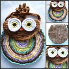 Girl's Crocheted Owl Bag in Med. Brown and Pastels by @Audrey's Cozy Crochet #handmade