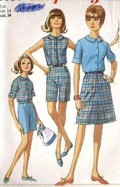 1960s Misses Summer Blouse Skirt and Shorts