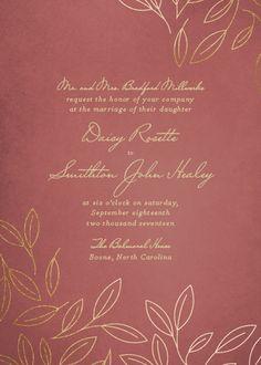 Magnolia Tree rustic autumn wedding invitation in Pantone's color of the year, Marsala