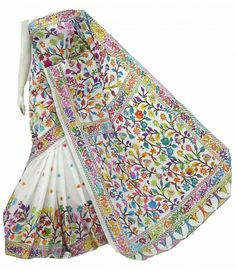 Off White Pure Handloom Kantha Work Silk Saree South Silk Sarees, Saree Painting, Kantha Stitch, Elegant Saree, Work Sarees, Hand Embroidery Stitches, Buy Sarees Online, Saree Collection, Costumes For Women