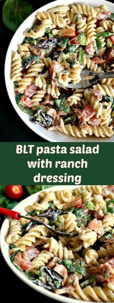 BLT pasta salad with ranch dressing makes a great side dish for a BBQ or a picnic, or a ssatisfying working lunch.