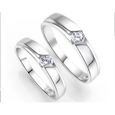 Inexpensive His and Her Couples Wedding Ring Bands with CZ on Silver Sale
