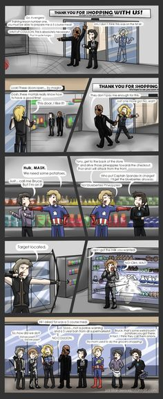 The Avengers go grocery shopping <<< CLINT. dead.