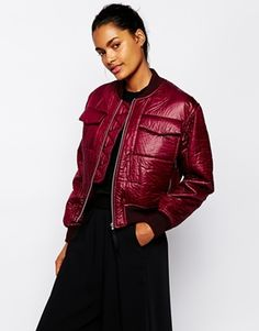 Enlarge Wood Wood Greta Bomber Coat in Cordovan