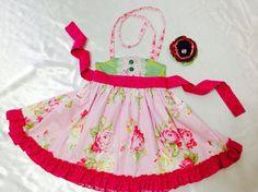 Girl Dress Size 2T; Sweat Ellie Halter; Handmade; Everyday Use; 100 % Cotton #Handmade #Everyday