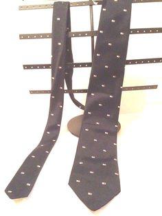 VINTAGE GIVENCHY MONSIEUR SILK BLEND NECK TIE GEOMETRIC PATTERN BLACK #Givenchy #NeckTie