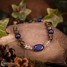 """Bracelet fait-main lapis lazuli et quartz fumé - """"Dieux Sauvages"""""""