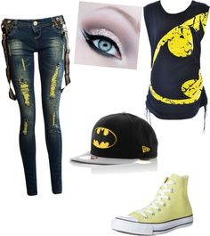 batman outfit - Batman Clothing - Ideas of Batman Clothing - I want a shirt like that with superman on it. I would be fine without the shoes. Maybe in black over yellow Batman Outfits, Emo Outfits, Casual Outfits, Cute Outfits, Rock Outfits, Batman Shoes, Look Fashion, Teen Fashion, Fashion Outfits