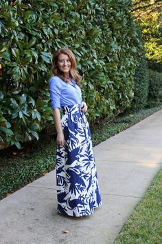 An outfit featuring Katie Kime's otomi maxi skirt. Long Skirt Outfits, Modest Outfits, Classy Outfits, Summer Outfits, Modest Clothing, Printed Maxi Skirts, Long Maxi Skirts, Midi Skirts, Preppy Mode