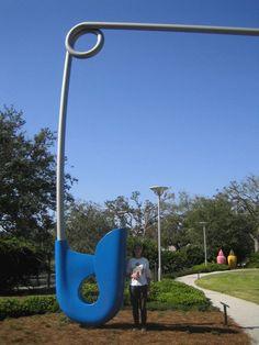 Claes Oldenburg sculpture: large open safety pin