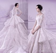 Vintage Spring 2015 Michael Cinco Wedding Dresses With Sleeveless Lace Bridal Gowns Ruffles Cap Sleeve Chapel Train Gorgeous Bride Gowns Online with $268.07/Piece on Caradress's Store | DHgate.com