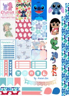 Liloandstitch - Stickers Imprimibles by AnacarLilian on DeviantArt Free Planner, Happy Planner, Gratis Sticker, Lilo Ve Stitch, Disney Planner, Planner Layout, Planner Ideas, Printable Planner Stickers, Disney Scrapbook