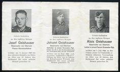 orig. WK2 STERBEBILD - DEATH CARD - 3 BRÜDER 1943/1944 - NORMANDIE - LA CAMBE