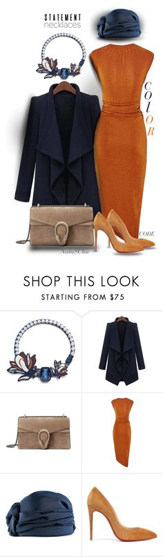 """Colored necklaces wear with burnt orange dress and blue coat"" by nataschic ❤ liked on Polyvore featuring Tory Burch, Gucci and Christian Louboutin"