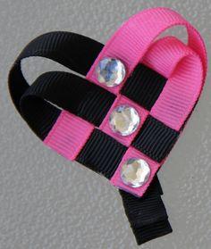 Black & Hot Pink Woven Heart Ribbon Sculpture by GirlyKurlz, $4.00