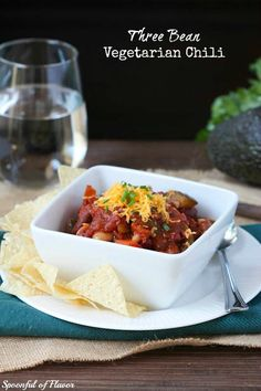 Three Bean Vegetarian Chili - hearty, healthy and the perfect way to warm up on a cold winter day!