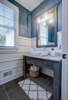 Half Bathroom Ideas - Want a half bathroom that will impress your guests when entertaining? Update your bathroom decor in no time with these affordable, cute half bathroom ideas. Bathroom Vanity Makeover, Rustic Bathroom Vanities, Bathroom Renos, Bathroom Ideas, Budget Bathroom, Bathroom Mirrors, Bathroom Small, Bathroom Bin, Simple Bathroom