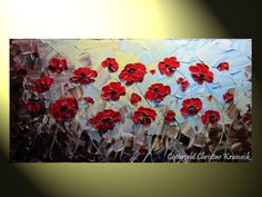 Contemporary Floral Landscape created by using her pallet knife.. Title: Red Poppies... by ChristineKrainock, on Etsy