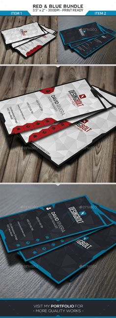 Bundle - Red Blue Business Cards - Business Cards Print Templates