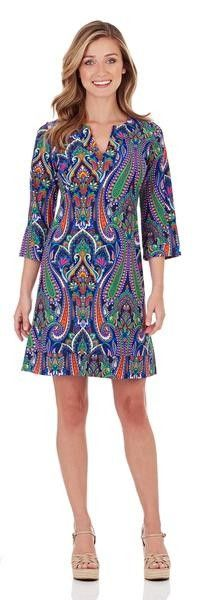 """IN STORE Jude Connally Megan Dress in  Moroccan Paisley Navy - AVAILABLE NOW IN STORE ~ HAPPY HUMP DAY Specials ~ ** 25% off all clothing including brand names - Excluding Jude -- BUT Save 15% off new Jude Wednesday   **JOIN OUR PERKA PROGRAM FOR SPECIAL COUPONS THROUGHOUT THE WEEK** Download the """"Perka"""" app today - Search the app store for """"Perka""""!  * $30 off Tux's in April & May Call for your appt 704-380-4983  We are OPEN through the week till 7pm"""
