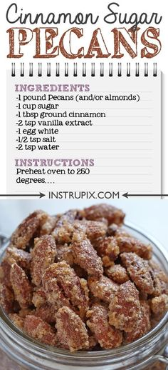 If you like candied nuts as much as I do, you are going to love this easy cinnamon sugar pecan recipe! Its the perfect party appetizer because you dont have to worry about them getting too hot or too cold while sitting out. Snacks Für Party, Appetizers For Party, Appetizer Recipes, Snack Recipes, Cooking Recipes, Christmas Appetizers, Christmas Parties, Paleo Appetizers, Dinner Recipes