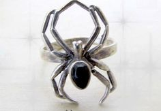 Vintage Goth Onyx Spider Ring
