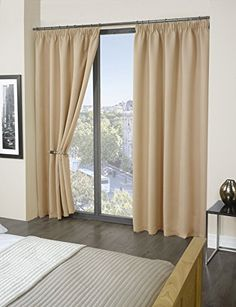 Luxury Thermal Supersoft Blackout Curtains Natural/Cream 65 x 54 (165cm x 137 cm) by Tonys Textiles