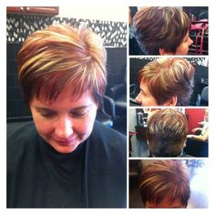 Womens Short Hair Cut With Red And Blond Highlights Lowlights
