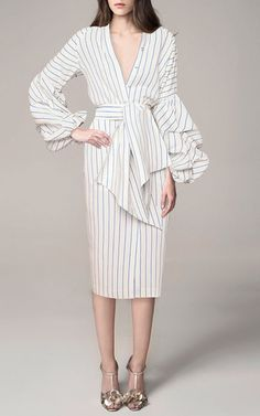 Linen Striped Juliet Wrap Front Tunic by Johanna Ortiz | Moda Operandi