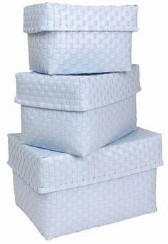 Lot de 3 boites de rangement en plastique tressé, Rice - Sélection de produits déco pastel - Des boîtes de rangement pour les petites affaires, pour le linge ou les produits ménager. Rice Lot de 3 boîtes de rangement en plastique tressé, 62,50 € Existent aussi en rose...