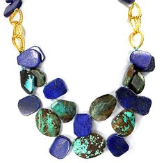"""001 Ny6design Blue Turquoise & Lapis Nugget Beads Necklace w Gold Plated Clasp 20.5"""" N4100309i. GemStone Type : Blue Turquoise & Lapis. Beads Size: 25x18-36x29mm; gold plated toggle. Length: 20.5"""".(26mm=1inch). *Notice: All natural gemstones are unique and may vary from the one shown in the picture. *Includes: FREE gift box with each order; ready to gift! 30-DAY satisfaction guarantee, no questions asked if you are not completely satisfied with the product and want to return it."""