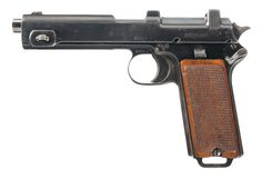 A 1916-dated Steyr-Hahn Model 1912 semi-automatic pistol as issued and marked by the Austrian Army. The Steyr-Hahn was originally introduced as a commercial pistol, but was quickly adopted by the Austro-Hungarian, Chilean, and Romanian militaries.