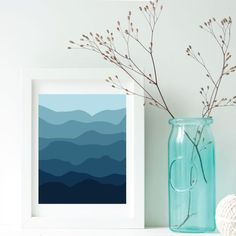 Free Printable from Scenemuse. Download this blue landscape abstract art piece today.
