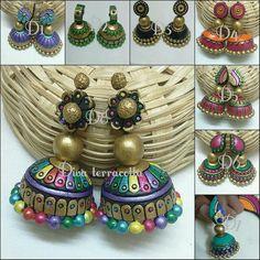 Funky Jewelry, Fashion Jewelry Necklaces, Trendy Jewelry, Handmade Jewelry, Fashion Jewellery, Ceramic Jewelry, Polymer Clay Jewelry, Thread Jewellery, Diy Jewellery