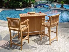 Giva A-Grade Teak Outdoor Garden Patio 3 pc Bar Cabinet Arm Chair Stool Set Patio Bar Table, Outdoor Patio Bar, Outdoor Dining Set, Outdoor Decor, Garden Furniture Sets, Outdoor Furniture Sets, Teak Wood, Armchair, Home And Garden