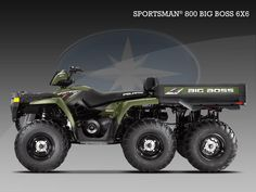 General information, photos, engines and tech specs for POLARIS Sportsman Big Boss 800 specs - 2010 Ranch Riding, Trail Riding, Luxury Helicopter, Polaris Industries, Polaris Atv, Military Vehicles, Military Car, Motorised Bike, Concept Motorcycles